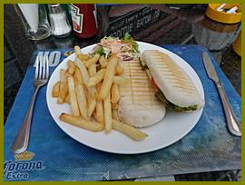 Chicken Panini with tomato, cheese & basil